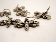 Handmade Silver Metal Stitch Markers ~ Firefly ~ Set of 6