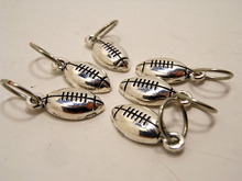 Handmade Silver Metal Stitch Markers ~ Footballs ~ Set of 6