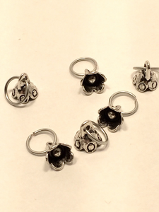 Silver Metal Stitch Markers ~ Foxglove ~ Set of 6