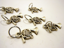 Handmade Silver Metal Stitch Markers ~ French Horns ~ Set of 6