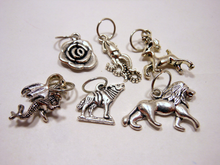 Handmade Silver Metal Stitch Markers ~ Game of Thrones The Great Houses ~ Set of 6