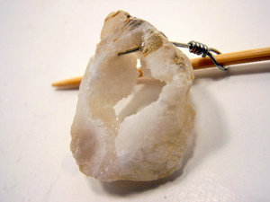 Handmade Natural Stone Geode Stone Shawl Pin ~ Wire Wrapped Natural Geode #87172