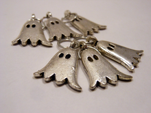 Handmade Silver Metal Stitch Markers ~ I ain't 'fraid of no ghosts! ~ Set of 6