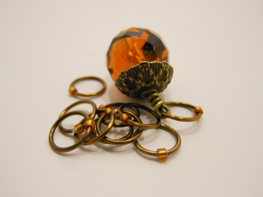 Handmade Snagless Metal Stitch Markers ~ Glass Acorn ~ Set of 10 ~ Antique Bronze and Glass Acorn with Honey Markers