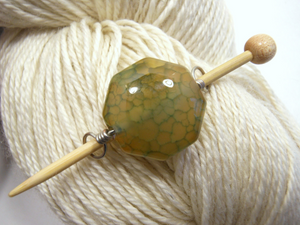 Handmade Natural Stone Shawl Pin ~ Wire Wrapped Stone ~ Gold and Green Dragon Agate Octagon with Silver Wire