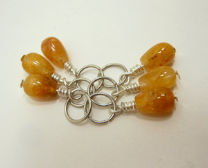 Handmade Natural Stone Stitch Markers ~ Golden Aventurine ~ Set of 6