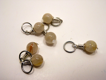 Handmade Natural Stone Stitch Markers ~ Golden Rutilated Quartz ~ Set of 6