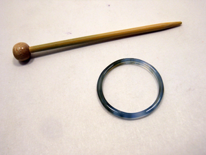 Natural Stone Shawl Pin ~ Gray Stone Ring D