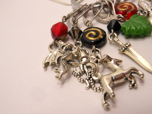 Handmade Silver Metal Crochet Stitch Marker Necklace ~ The Great Houses