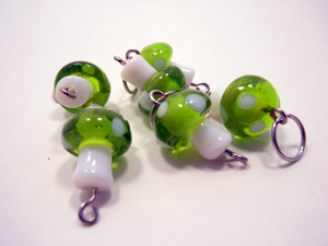 Lamp Work Glass Stitch Markers ~ Green Mushrooms ~ Set of 6