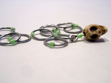 Handmade Snagless Stitch Markers ~ Neon Green Skull ~ Set of 10