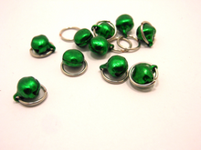 Tintinnabulation ~ Green Jingle Bell Stitch Markers ~ Set of 10
