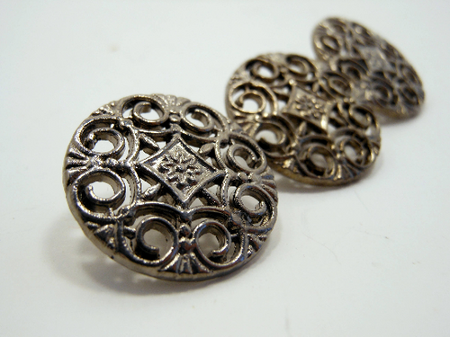 Metal Buttons Set of 3: Gunmetal Filigree Metal Shank Buttons ~ 9/16