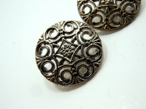 "Metal Buttons Set of 3: Gunmetal Filigree Metal Shank Buttons ~ 9/16"" Diameter"