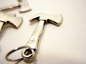 Handmade Silver Metal Stitch Markers ~ Hatchets ~ Set of 6