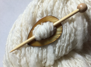 "Mother of Pearl Teardrop Shawl Pin ""Heifer"""