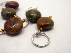 Handmade Natural Stone Stitch Markers ~ Small Round Jasper with Honey Accents ~ Set of 5