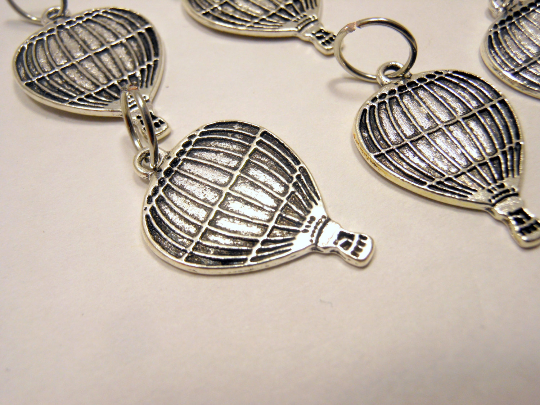 Silver Metal Stitch Markers ~ Hot Air Balloons ~ Set of 6