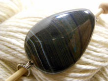Handmade Natural Stone Shawl Pin ~ Iced Mocha ~ Wire Wrapped Striped Chocolate and Blue Agate