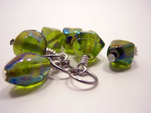 Handmade Indian Glass and Silver Stitch Markers ~ Green