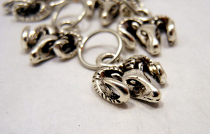 Handmade Silver Metal Stitch Markers ~ Jacob Ram ~ Set of 6