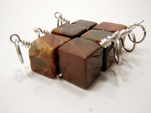 Natural Stone Stitch Markers ~ Jasper Cubes ~ Set of 6