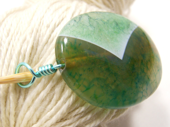 Handmade Natural Stone Shawl Pin ~ Key Lime Pie ~ Wire Wrapped Green Striped Agate with Mint Green Wire