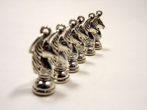 Handmade Silver Metal Stitch Markers ~ Silver Knights ~ Set of 6