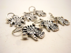 Handmade Silver Metal Stitch Markers ~ Knitters Gonna Knit ~ Set of 6
