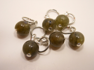 Handmade Natural Stone Stitch Markers ~ Labradorite ~ Set of 6
