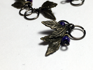 Handmade Antique Bronze Metal Stitch Markers ~ Lambrusco ~ Set of 6 Vineyard Grape Stitch Markers