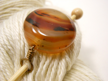 Handmade Natural Stone Shawl Pin ~ Latte Art ~ Wire Wrapped Brown Striped Agate with Antique Bronze Wire