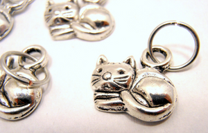 Handmade Silver Metal Stitch Markers ~ Lazy Cats ~ Set of 6