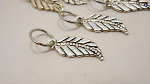 Handmade Silver Metal Stitch Markers ~ Leaf on the Wind ~ Set of 6