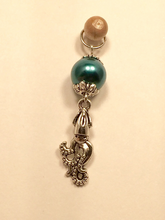 Handmade Single Metal Stitch Marker ~ Glass and Silver ~ Leviathan