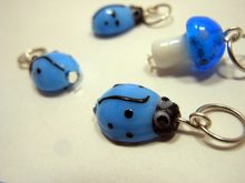 Handmade Lampwork Glass ~  Light Blue Beetles and Mushrooms ~ Set of 6 Stitch Markers