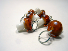 Handmade Lampwork Glass Stitch Markers ~ Light Brown Mushrooms ~ Set of 6 Stitch Markers