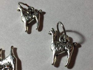 Handmade Silver Metal Stitch Markers ~ Llamas  ~ Set of 6