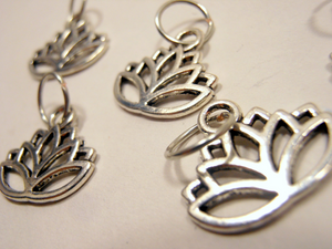 Handmade Silver Metal Stitch Markers ~ Lotus ~ Set of 6