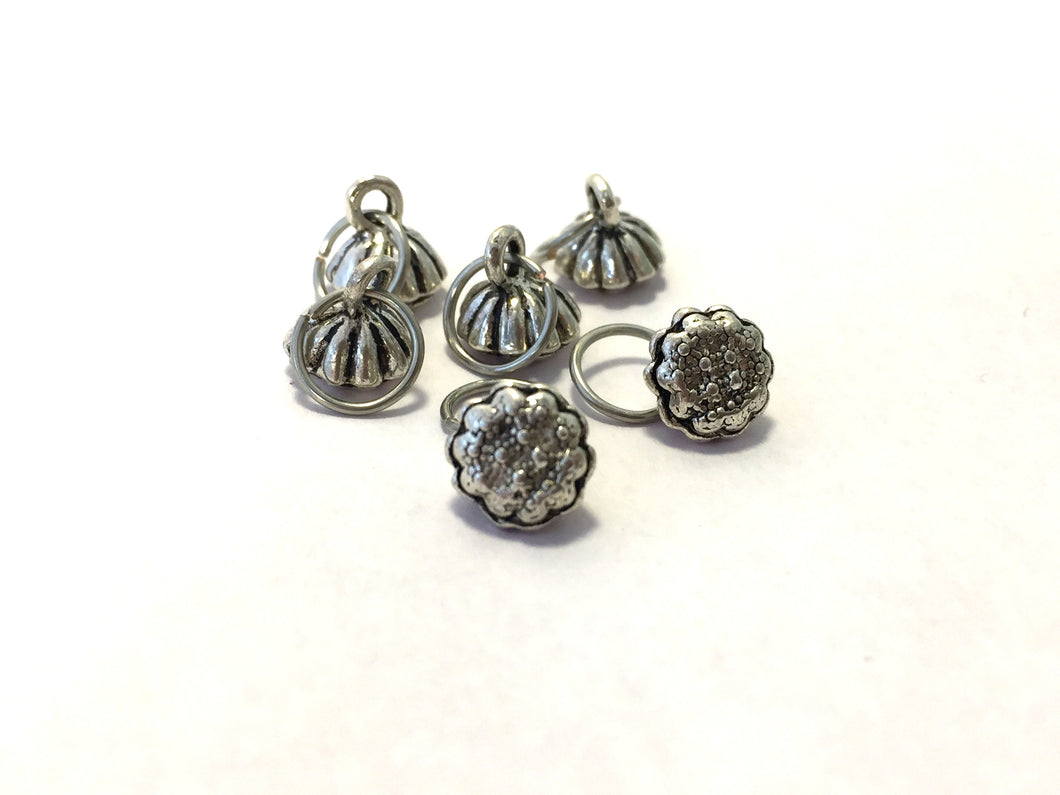 Handmade Silver Metal Stitch Markers ~ Lotus Blossom ~ Set of 6