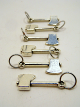 Handmade Silver Metal Stitch Markers ~ Lumberjack ~ Set of 6