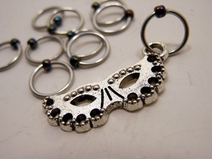 Handmade Snagless  Metal Stitch Markers ~ Masquerade ~ Set of 10