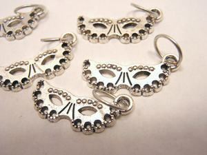 Silver Metal Stitch Markers ~ Masquerade ~ Set of 6