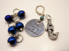 Handmade Silver Metal Stitch Markers ~ I'm Really a Mermaid ~ Set of 7 Stitch Markers