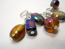 Handmade Indian Glass and Silver Stitch Markers ~ Metallic ~ Set of 6 ~ Iridescent Handmade Glass Beads