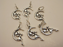 Silver Metal Stitch Markers ~ Moonlight ~ Set of 6 Fairy and Moon Stitch Markers