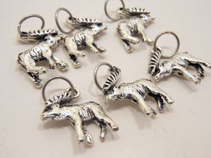 Handmade Silver Metal Stitch Markers ~ Moose ~ Set of 6