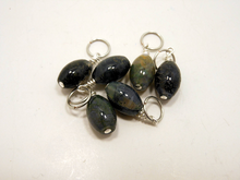 Handmade Natural Stone Stitch Markers ~ Moss Agate ~ Set of 6