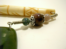 Handmade Shawl Stick ~ Natural Stone Moss Agate with Moss Agate and Tourmaline on a Natural Carved Bone Shawl Stick