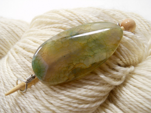 Handmade Natural Stone Shawl Pin ~ Mossy Agate ~ Wire Wrapped Agate with Silver Wire